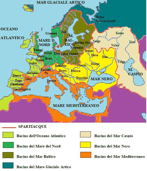 Cartina Fisica Europa Con Fiumi.I Fiumi Dell Europa