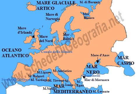 Cartina Mediterraneo Occidentale.I Mari Dell Europa