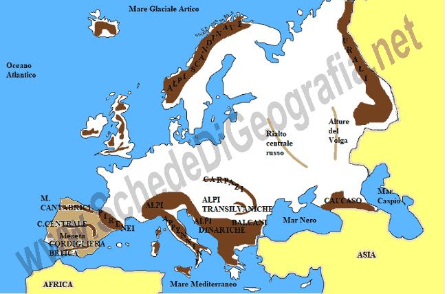 Cartina Geografica Europa Centrale.Le Montagne D Europa
