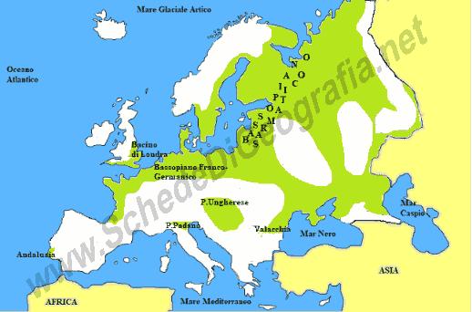 Europa Meridionale Cartina.Le Pianure Europee