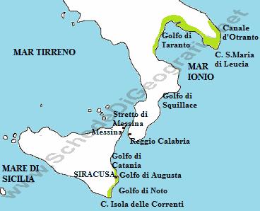Cartina Fisica Italia Golfi.Le Coste Ioniche