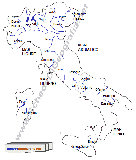 Cartina Dei Fiumi Del Nord Italia.I Fiumi Italiani