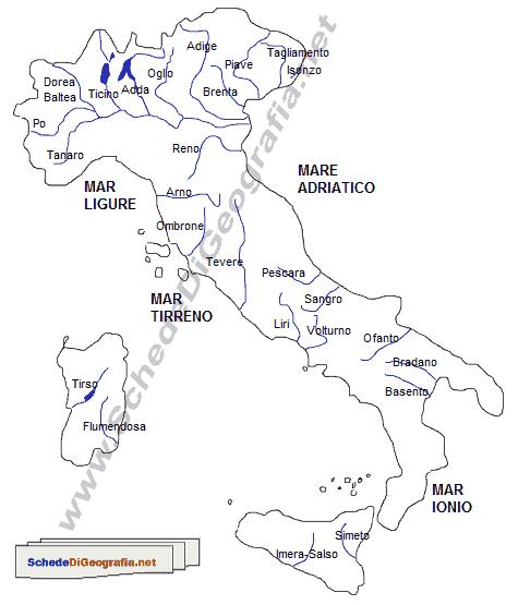 Cartina Italia Monti E Fiumi.I Fiumi Italiani