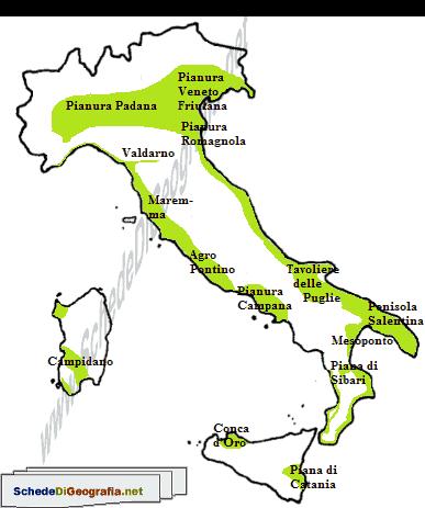 Cartina Italia Catania.Le Pianure Delle Principali Isole Italiane