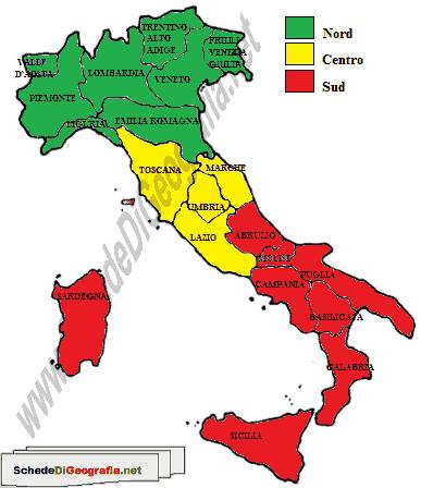 Cartina Geografica Italiana Con Regioni.Ripartizione Geografica Dell Italia