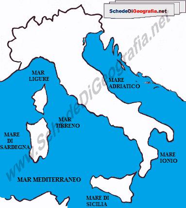 Cartina Sardegna Grande.I Mari Italiani