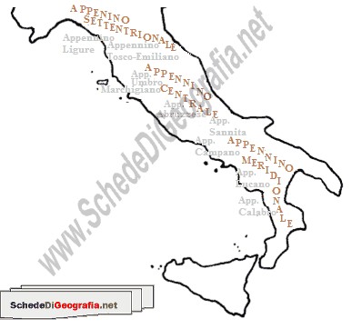Cartina Italia Centrale E Meridionale.Suddivisione Degli Appennini