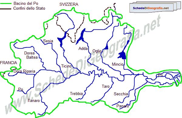 Cartina Dell Italia E I Suoi Confini.Il Bacino Del Po
